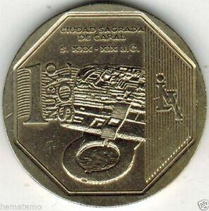 Peru 2014 Coin 1 Nuevo Sol Orgullo y Riquezas Sagrada de Caral