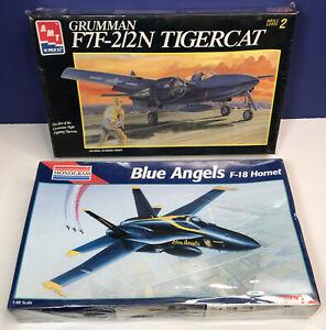 Lot of 2 Vintage Models: Grumman F7F-2/2N TigerCat & Blue Angels F-18 Hornet