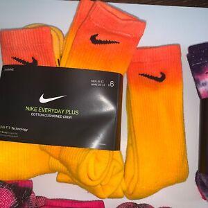 ONE PAIR of NEW Custom Tie Dye Nike Everyday PLUS Dr-Fit Socks Size L 4 Styles