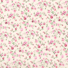 MOLLY -  CREAM/ PINK COTTON FABRIC shabby FLORAL chic Dressmaking