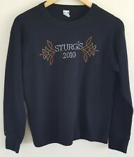 Sturgis 2010 Womens Thermal Crew XL Black Embellished Long Sleeves 100% Cotton