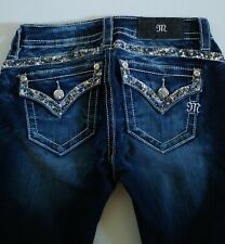 Miss Me Mid Rise Boot Slim Stretchy Straight Bling Womens Jeans Studded Pocket