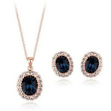18K ROSE GOLD PLATED GENUINE CZ & AUSTRIAN CRYSTAL BLUE NECKLACE/ EARRING SET