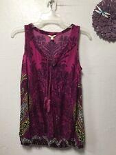 Ladies stylish blouse size small purple, black, elastic hem Sonoma 156
