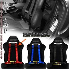 "JDM 4-POINT RACING SAFETY HARNESS 2"" NYLON SEAT BUCKLE BELT MOUNTING RED/YELLOW"
