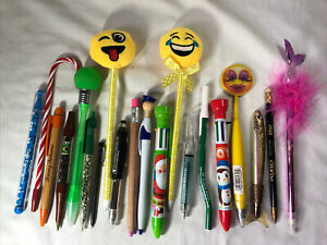 Vintage & Modern Novelty Pen Lot of 20 Smiley Face Coffee Bean Shred Money Fish