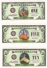 "2014 ""A"" Series DISNEY DOLLARS 3 Note Set $1 $5 $10 ""Mountain Series - MINT UNC"