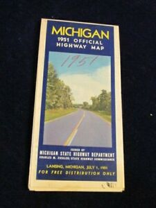 Vintage Official July 1 1951 Michigan Highway State Road Map   Near Mint