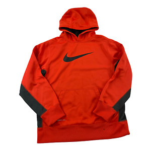 Nike Sweater Youth Large Orange Black Swoosh Spell Out Hoodie Kids Boys Outdoor