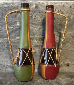 Vtg LOBECO Bottles SPAIN Patchwork Faux Leather Wrapped - HAND CRAFTED 2PC MCM
