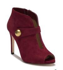 Michael Michael Kors Agnes Women Shoes Open Toe Bootie Maroon Suade 9 NWB