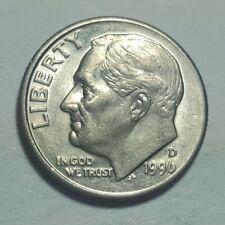 1996 D Roosevelt Dime 10c Obverse Slightly Off-Center Error Coin Au