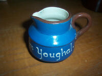 Small Blue Longpark Torquay Pottery Motto Ware Cream Pitcher Jug From Youghal