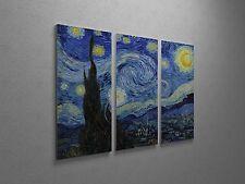 "Vincent Van Gogh Starry Night Canvas Triptych Print 48""x30"""