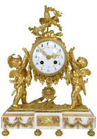 Pendule Angelots. Kaminuhr Empire clock bronze horloge antique cartel uhren