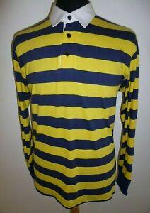 Men's Ralph Lauren Polo Shirt Blue Yellow Stripe Custom Fit Long Sleeve Size XL
