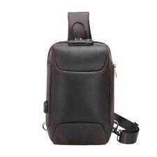 Men Leather USB Charging Sling Bag Sport Bag Shoulder Bag Chest Pack Backpack