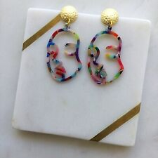 Colourful Acetate Abstract Face Gold Stud Dangle Handmade Statement Earring