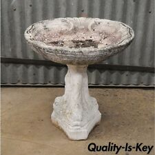 "Small 20"" Concrete Garden Birdbath 3 Dolphin Fish Pedestal Base Shell Vtg 2 Pc"