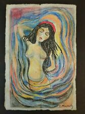 EDVARD  MUNCH       DRAWING SIGNED CHARCOAL ON OLD PAPER OF THE 900s