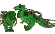 A Pair Set (2 Pieces) of Leather Keychain, Dinosaur T-Rex Pattern, Green