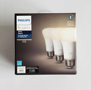 Philips hue (3) A19 Bulb White 800 Lumens BT App Control E26 NEW - FAST SHIP