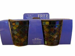 Hallmark Expressions Set of Mosaic Blue/Purple Votive Candle Holders