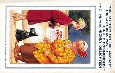 POSTCARD  COMIC  BAMFORTH  (  LBT ) LADY  DOG -   COMMENDED -  DELIGHTED