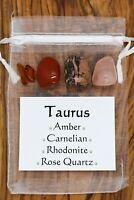 Taurus Crystal Set Amber Carnelian Rhodonite Rose Quartz Horoscope Star Sign