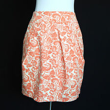 Odille Anthropologie Peach Cream Floral Butterflies Pleated Front Skirt Size 2