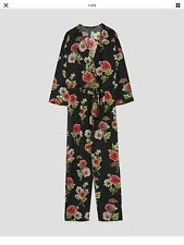 ZARA Black Floral Printed crossover jumpsuit Size MEDIUM 0787/230
