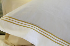 2 FRETTE Smeraldo White w/Gold Piping Italian Euro Pillow Shams, Super Soft!