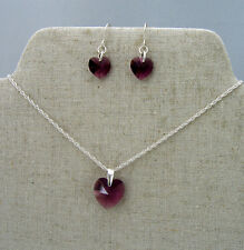 Sterling Silver Necklace & Earring Set with SWAROVSKI Crystal Heart Amethyst
