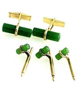 Natural Jade Cufflinks and 3 Shirt Studs Set 14k Solid Yellow Gold