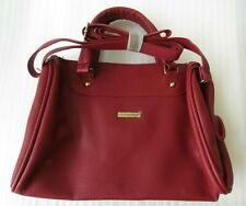 NEW Nathalie Anderson Womens Red Faux Leather Shoulder Hand Bag Small