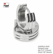 Plain Stainless Steel Hinged Snap Hoop Men's Huggie Earrings SSHE 038 S