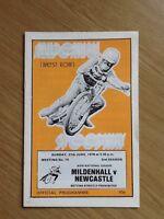 Mildenhall V Newcastle Speedway Programme 27/06/76