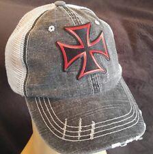 Red Iron Cross Biker Ball Cap hat Cotton Mesh Trucker Hat Gothic