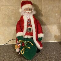 Avon's  Dazzling Fiber Optic Santa  With A Bag Of Toys 2004 Tested And Works