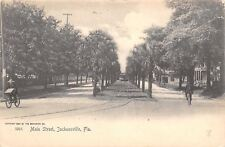 Jacksonville Florida~Main Street Homes~Center Trolley~Men on Bicycles~B&W 1905