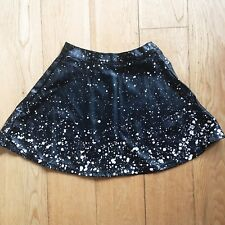 American Apparel Circle Skirt in Vegan Leather and Splattered Paint Detail UK XS