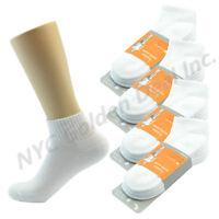 (White) 3 Pairs Ankle/Quarter Crew Mens Socks Cotton Low Cut Size 10-13 Sports