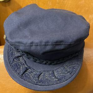 Vintage Aegean Blue Cotton Greek Fisherman's Hat, Sailor Captain Fits Like 7 1/8