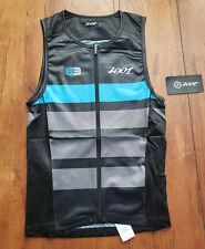 ZOOT Mens M LTD Tri HALF Zip Tank 83 Medium Triathlon Cycling Black Grey Blue