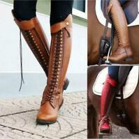 Women's Boots Knee High Lace up Stacked Heels Leather Tall Riding boots Cool New