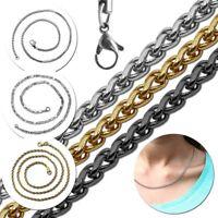 Halskette Collier Kordelkette Schlangenkette Ketten Damen Edelstahl Silber Gold