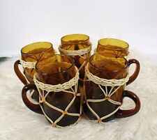 Vintage Wicker Glass Cups Mugs 70s Boho Amber Rattan Serving Barware Beverage -5