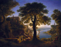 Oil painting Karl Friedrich Schinkel Castle by the River beautiful landscape