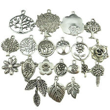 20X Vintage Silver Alloy Plant Leaf Flower Life Tree Dangle Pendant Accessories