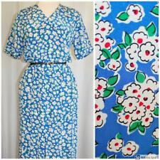 Vtg 80s does 50s Silk Floral Wiggle Secretary Peter Pan Collar Midi Maxi Dress S